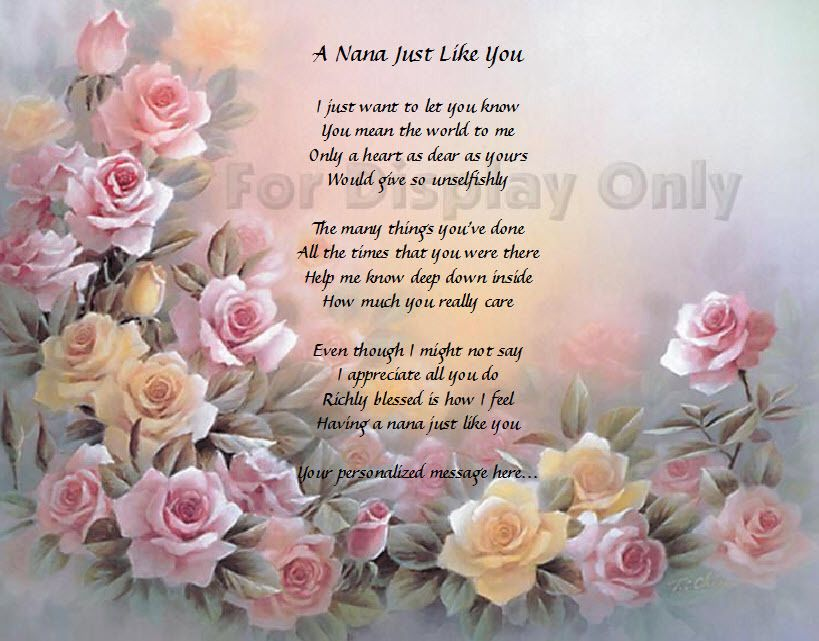 Nana Gift Personalized Poem For Grandmother Grandma Birthday Or
